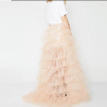 White Wedding Open Tiered Skirt Custom Plus Size Wedding Photo Tulle Skirt  image 5