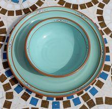 Noritake Stoneware Japan Dinner Plate & Cereal Soup Bowl Boulder Ridge Turquoise image 3