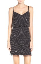 Adrianna Papell Women's Sz 8 V-Neck Blouson Beaded Black Dress 2352-3 - $92.56
