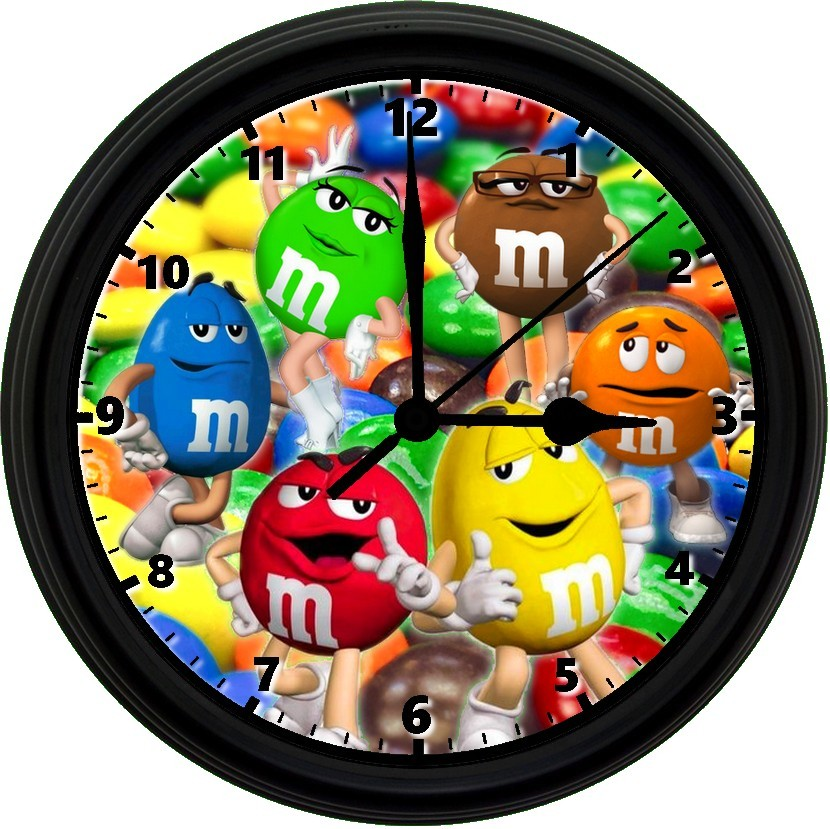 Primary image for M&M Chocolate Candy 8in. Unique Homemade Wall Clock w/ Battery Included