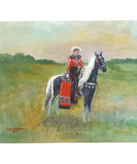 Billy Chestnut Painting Original 1962 Canvas Western Woman on Horse Signed - $886.05