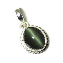 Genuine Cats Eye 925 Sterling Silver Pendant 4 Carat Charm Jewelry Necklace - $26.33