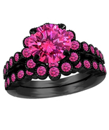Round Cut Pink Sapphire 14K Black Gold Plated 925 Silver Women's Bridal ... - $89.99