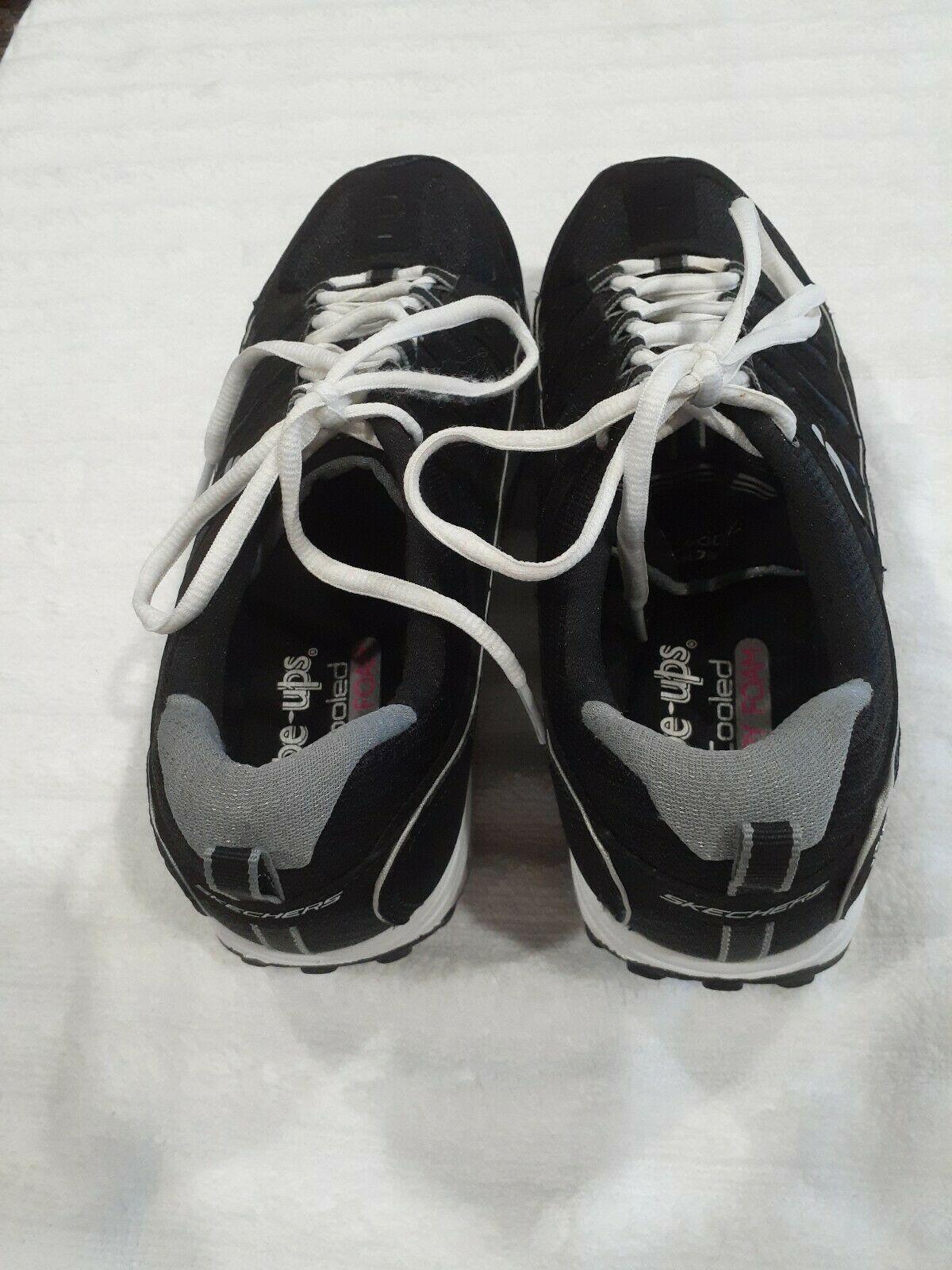 Womens Sz 9.5 M Skechers Shape-Ups Comfort Stride Shoes Sneakers Black & Silver image 10