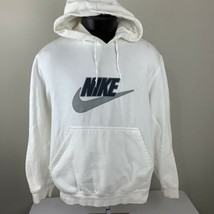 Vintage Nike Hoodie Sweatshirt Swoosh White Navy Team Medium Hood Team F... - $39.99