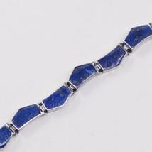 "7"", Vintage Sterling 925 Silver Tennis Bracelet W/ Geometrical Lapis Lazyli - $29.80"