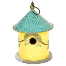 Bastion Birdhouse Hand Painted Yellow Iron and ... - $42.99