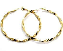 18K YELLOW GOLD BIG CIRCLE HOOPS FACETED BRAID ROPE EARRINGS 55 MM x 3 MM, ITALY image 2