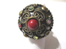 DARKENED BYZANTINE STYLE ORNATE METAL RING BRONZE TONE DOMED STONES VINTAGE - $36.00