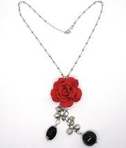 Collier Argent 925, Onyx Noir, Rose Rouge, Fleur, Chaîne Billes image 2