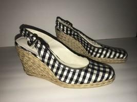 Stuart Weitzman Gosling Black White Gingham Espadrille Wedges Shoes 9.5 - $74.24