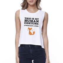 This Is My Human Costume Fox Womens White Crop Top - $14.99