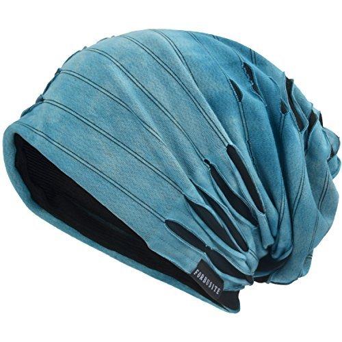 VECRY Mens Slouch Beanie Skull Cap Thin Summer Hat Retro Blue