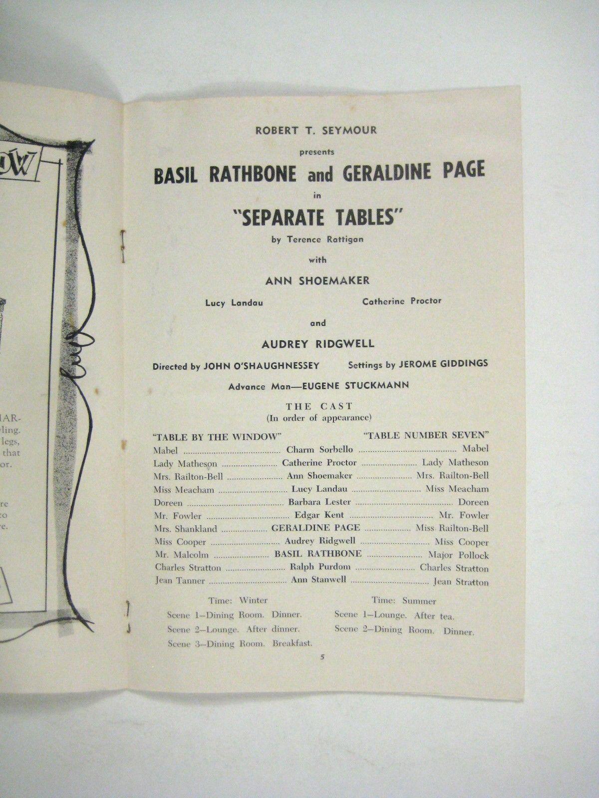 Basil Rathbone Separate Tables Playhouse of Stars 1958 Harrisburg Theatre