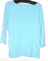Talbots Blue Cotton Top Size Mp - $11.00