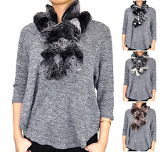 Faux Fur Two Tone Color Pull Through Collar Neck Wrap Loop Infinity Scar... - $10.45