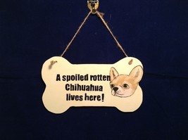 NEW Elfworks Lane Bone Shaped Chihuahua Sign Made in USA - $24.74