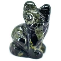 Kambaba Jasper Gemstone Tiny Miniature Kitty Cat Figurine Hand Carved in China image 2
