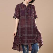 2018 ZANZEA Women Cotton Linen Blouse Vintage Plaid Check Short Sleeve Summer Wo image 2