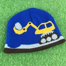 Construction Digger Boys Sz S-M Hat Blue Stretch Knit Beanie Winter Skul... - $9.89