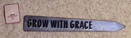 Grow With Grace Metal Wall Sign Plaque New Pointing Arrow Shape - $8.86