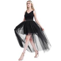 Black Slit Tulle OVERSKIRT Elastic Waist hilo Tulle Skirt Open Skirt Over Skirt