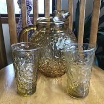 Lido Milano Glass Pitcher & Tumblers Anchor Hocking Vintage Honey Gold MCM - $24.75