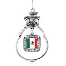Inspired Silver Mexican Flag Classic Snowman Holiday Christmas Tree Ornament Wit - $14.69