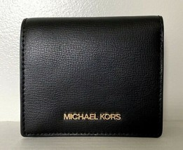 New Michael Kors Jet Set Travel Carryall Card case Leather wallet Black - $59.00