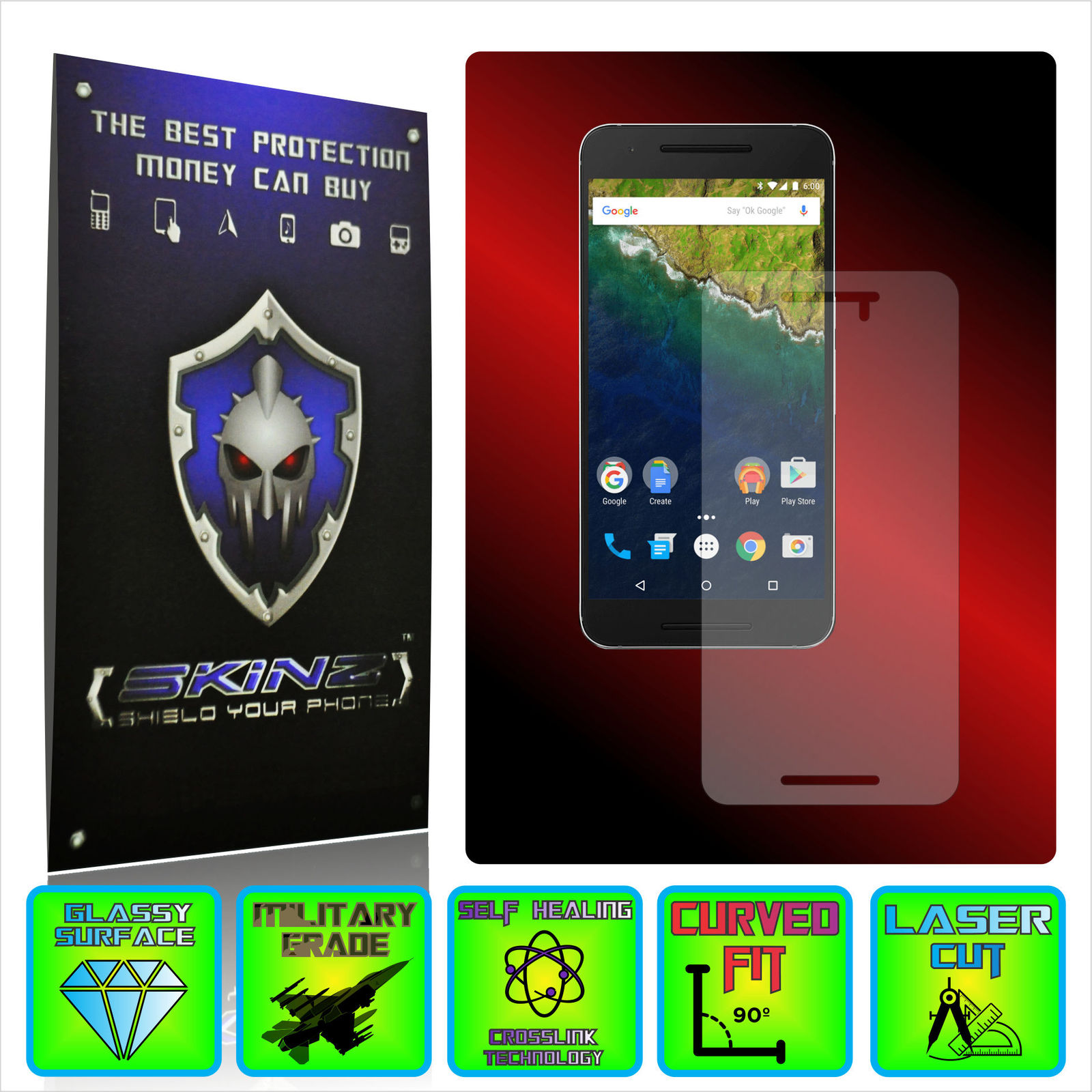 Huawei google nexus 6p   x self healing screen protector