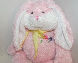 Commonwealth pink white bunny rabbit plush flowers on chest yellow bow f... - $29.69