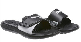 PUMA Womens' Adjustable Strap Surfcat Slide Sandals - Black/White - Size 6 - $19.79