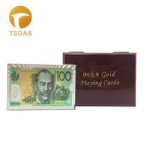 Waterproof Poker Cards Australia 100 Dollar 24K Gold Foil Playing Cards ... - $14.50