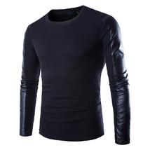 Mens leather sweatshirt Black Long Sleeve PU Spell Leather Round Collar ... - $24.98