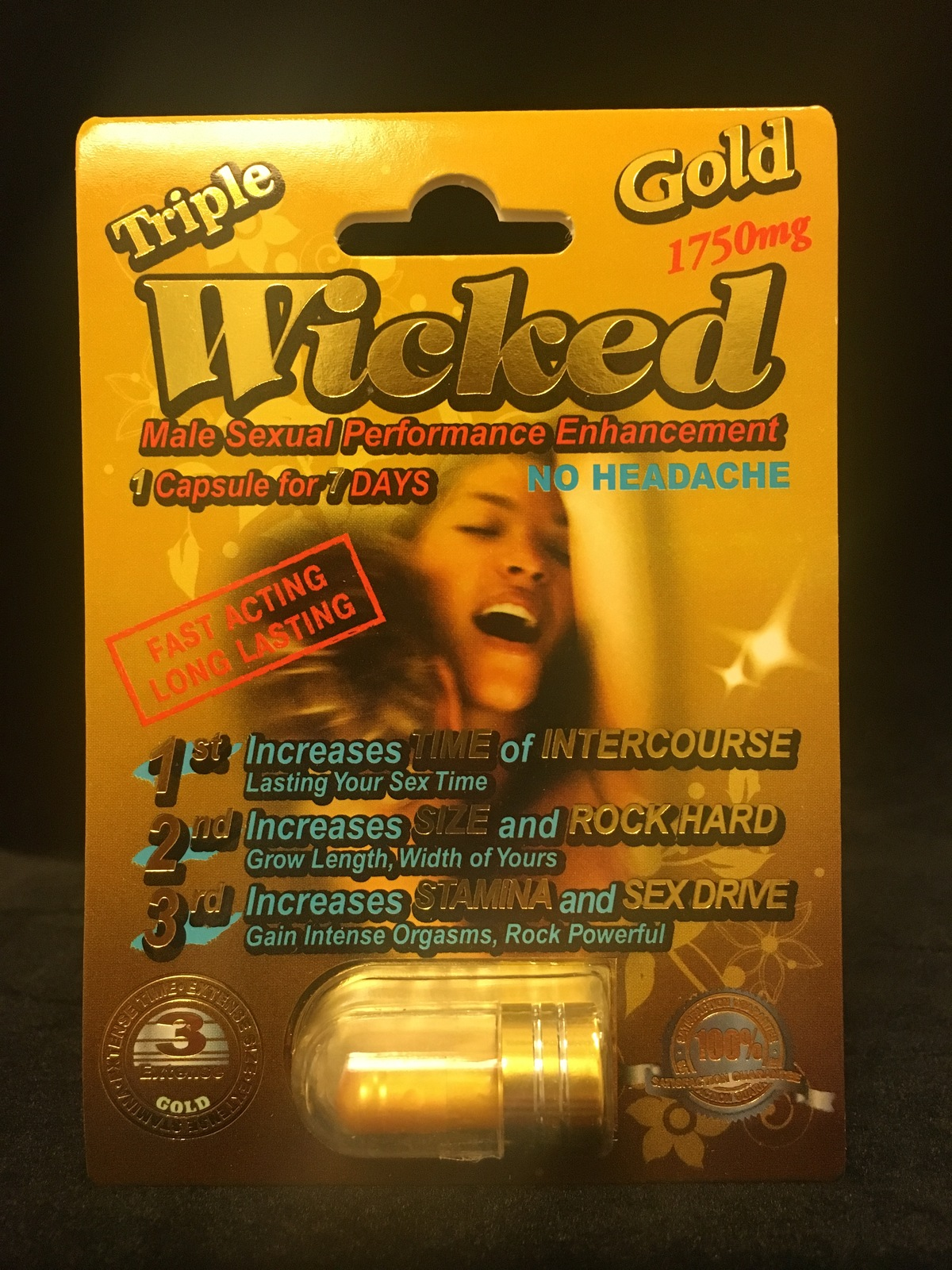 TRIPLE WICKED GOLD 1750mg MALE ENHANCEMENT PILLS (6 PACK SPECIAL) FREE SHIP