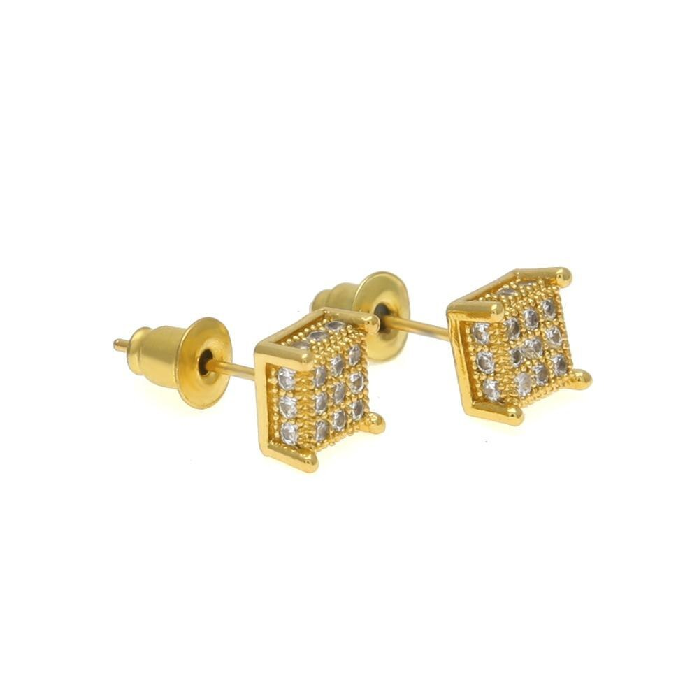 Primary image for Uwin Men Fashion Square Stud Earrings CZ Bling Micro Pave Cubic Zirconia Gold Si