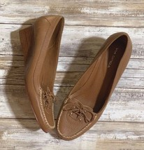 Via Spiga Woman Brown Tan Leather Wedge Heels Size 7.5M - $34.65
