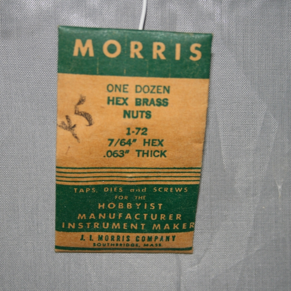 "Morris One Dz. Hex Brass Nuts - 1-72 7/64"" Hex .063"" Thick NIP Old Stock"