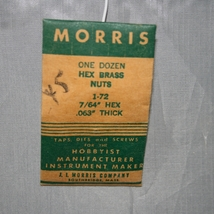 """Morris One Dz. Hex Brass Nuts - 1-72 7/64"""" Hex .063"""" Thick NIP Old Stock"""