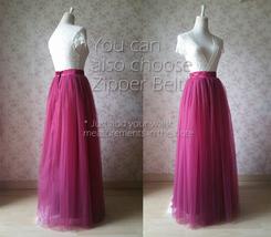 Women's Red Tulle Skirt Floor Length Red Maxi Tulle Skirt High Waist Prom Skirt image 8