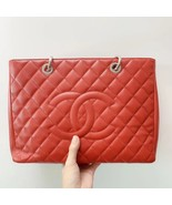 AUTH CHANEL RED QUILTED CAVIAR GST GRAND SHOPPING TOTE BAG  - $1,999.99