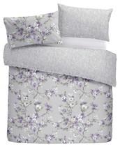 Dibujado a Mano Estilo Floral Flores Lila Super King Duvetcover &bedspread - £77.51 GBP