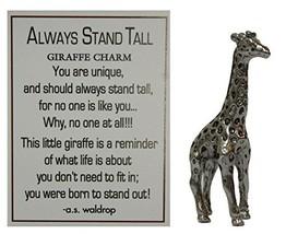Always Stand Tall Zinc Giraffe Pocket Charm with Story Card by Ganz - $2.43