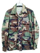 US Military ARMY Field Jacket Shirt Camo Woodland Hunting Medium Long Hot weathr - $39.59
