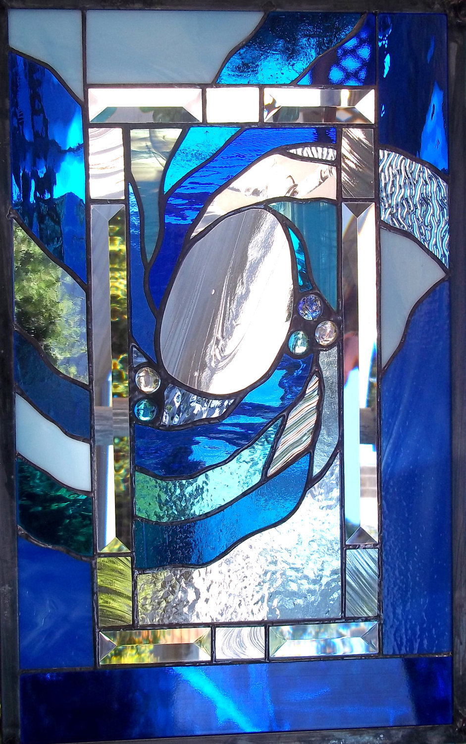 Stained Glass Window Panel blue ocean wave