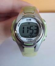 Timex 1440 Sports Wristwatch Stopwatch WR50M Indiglo Green Plastic band  - $14.99