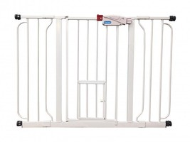 Indoor Pet Gate Extra Wide Adjustable Barrier With Walk Thru Door Dog Ca... - $55.21