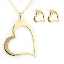 UNITED ELEGANCE Gold Tone Necklace With Heart Pendant & Coordinating Earring Set - $19.99