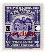 (I.B) Colombia Revenue : Consular Service 20c (ABN Specimen) - $7.44
