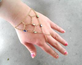 Net Slave Bracelet Rare Antique Rainbow Gem Hand Chain Boho Hand Chain C... - $84.00